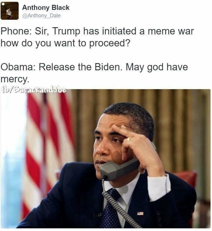 Trump taking over Obama and Biden Meme