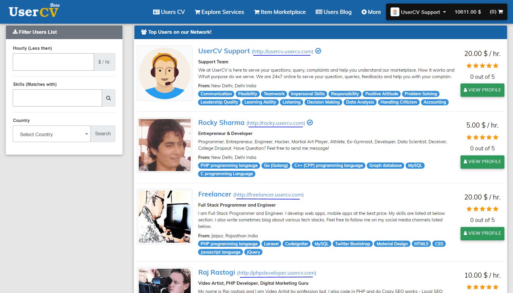 FreelancerCV - Fiverr Clone - Envato Clone - Tumblr Clone - About.me Clone (Multi Domain SAAS) - User List