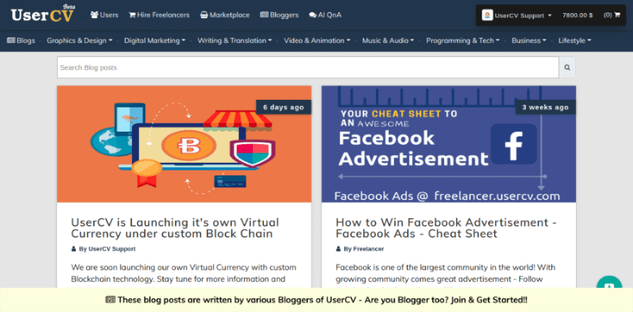 How to start a blogging career with UserCV.com