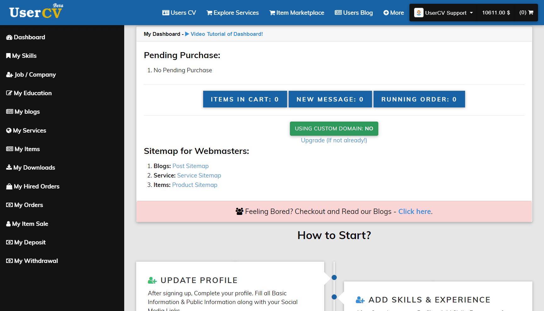 FreelancerCV - Fiverr Clone - Envato Clone - Tumblr Clone - About.me Clone (Multi Domain SAAS) - Dashboard page details