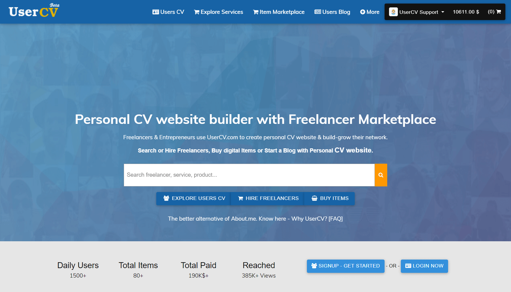 FreelancerCV - Fiverr Clone - Envato Clone - Tumblr Clone - About.me Clone (Multi Domain SAAS) - Home Page
