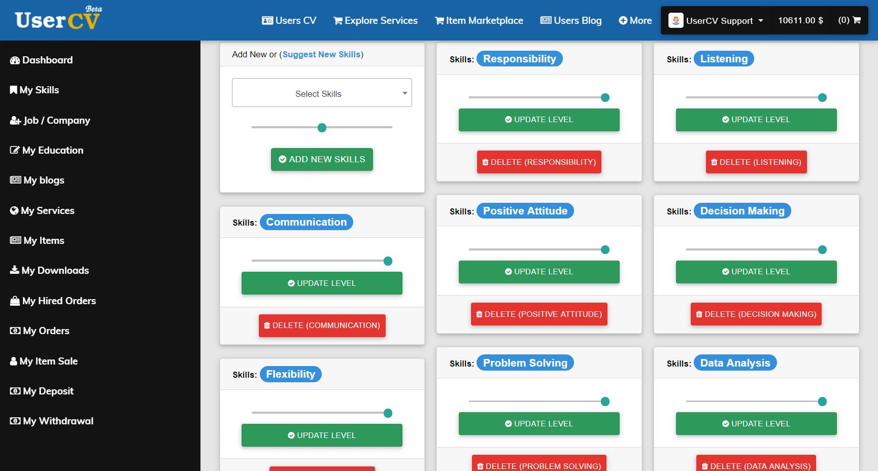 FreelancerCV - Fiverr Clone - Envato Clone - Tumblr Clone - About.me Clone (Multi Domain SAAS) - Add skills page
