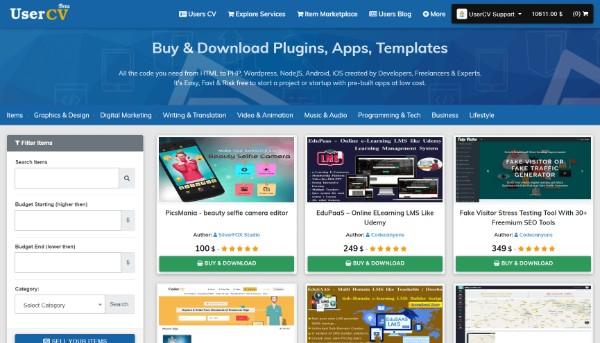 FreelancerCV - Fiverr Clone - Envato Clone - Tumblr Clone - About.me Clone (Multi Domain SAAS) - Digital Item marketplace list