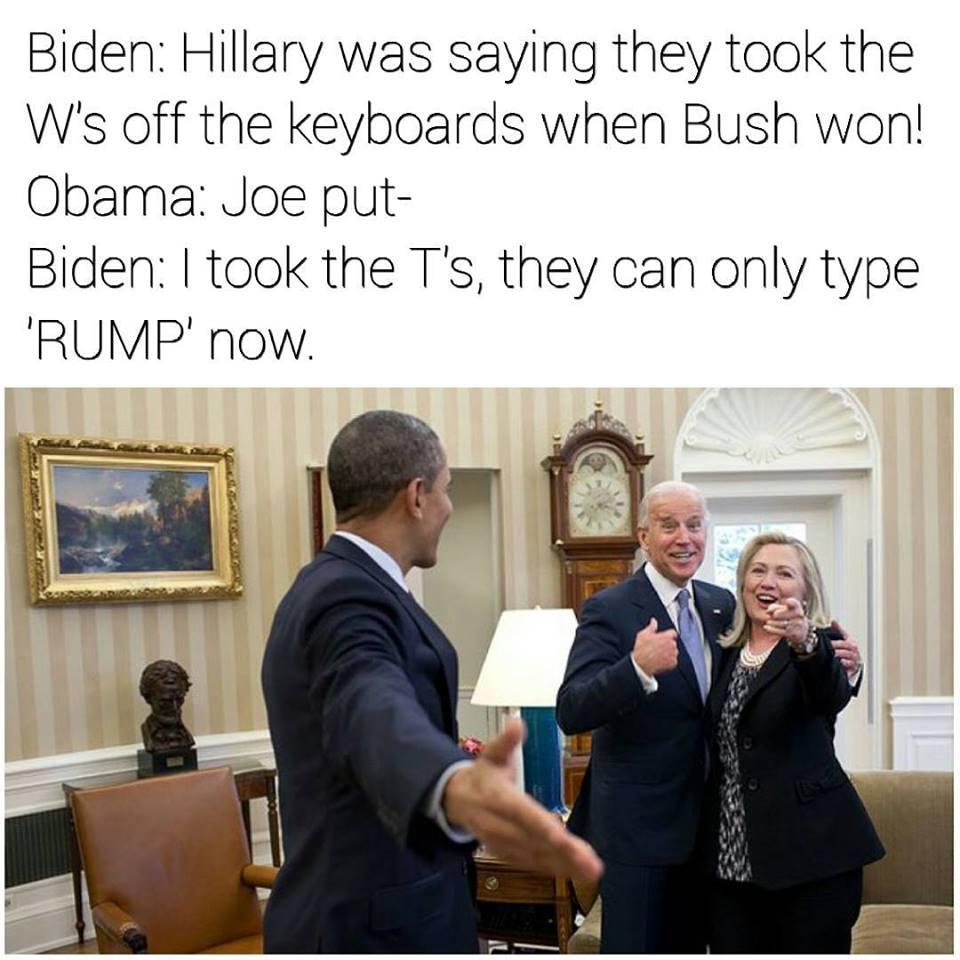 Donald Trump meme with Biden and Obama